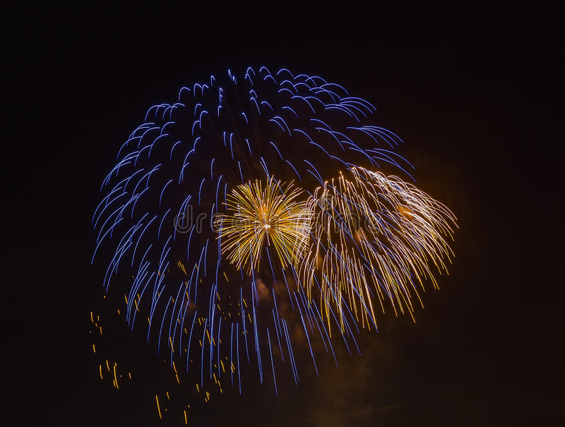 The evening fireworks in the sky in honor of celebration of Victory Day. The evening fireworks in the sky in honor of celebration Victory Day royalty free stock photography