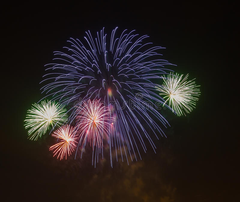 The evening fireworks in the sky in honor of celebration of Victory Day. The evening fireworks in the sky in honor of celebration Victory Day royalty free stock photo