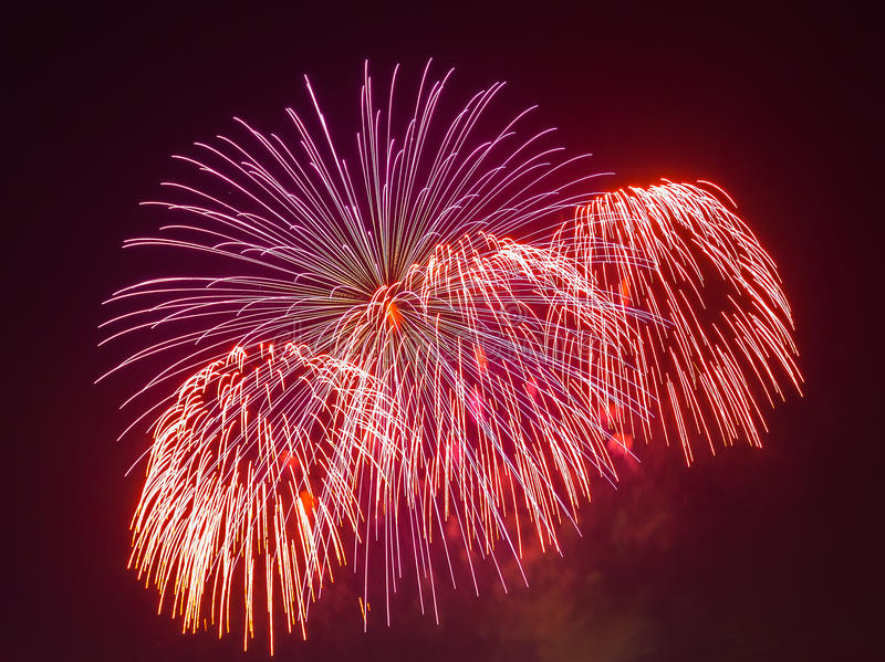 The evening fireworks in the sky in honor of celebration of Victory Day. The evening fireworks in the sky in honor of celebration Victory Day stock image