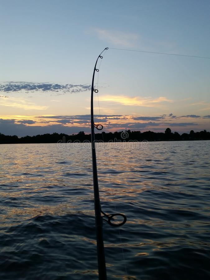 Evening fishing royalty free stock photography