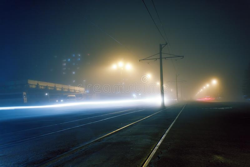 Evening fog on the streets of Dneprodzerzhinsk royalty free stock photography