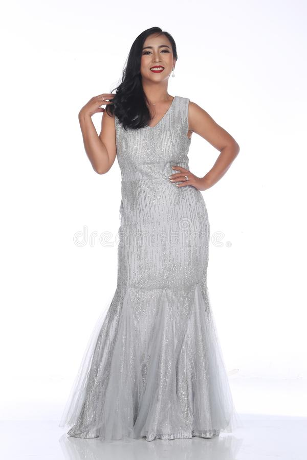Evening Gown Ball Dress In Asian Beautiful Woman With Fashion Ma ...