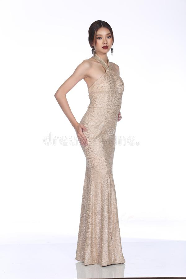 Evening Gown Ball Dress in Asian beautiful woman with fashion ma stock photography