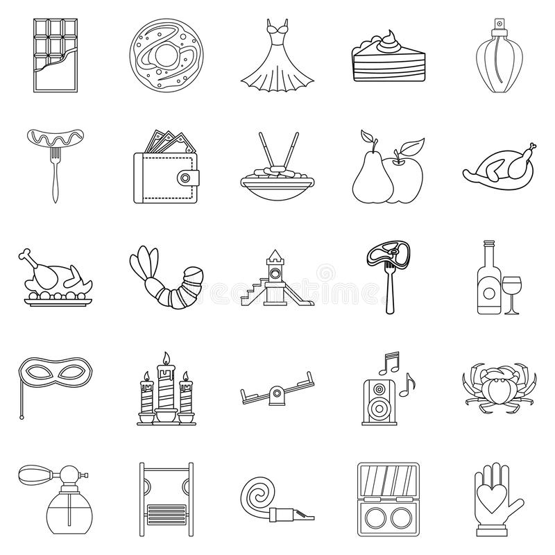 Evening gown icons set, outline style vector illustration