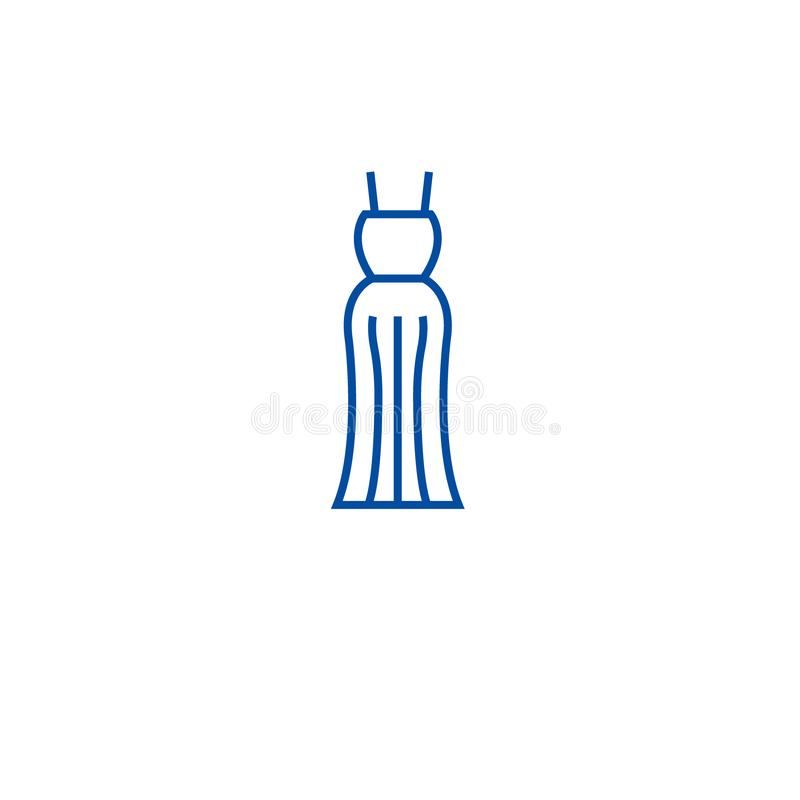 Evening gown line icon concept. Evening gown flat  vector symbol, sign, outline illustration. royalty free illustration