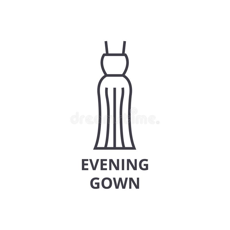 Evening gown line icon, outline sign, linear symbol, vector, flat illustration stock illustration