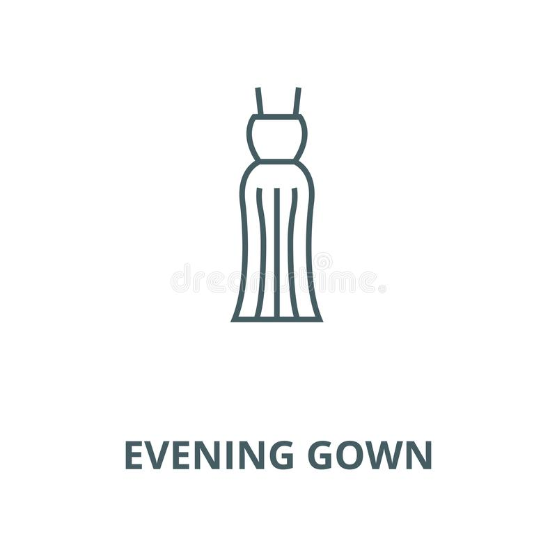 Evening gown line icon, vector. Evening gown outline sign, concept symbol, flat illustration stock illustration