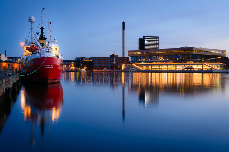 Evening in the harbor, Aarhus Denmark royalty free stock image