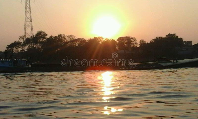 Before the Evening. I have captured this photo from Narayangonj - the largest river port of Bangladesh stock photography