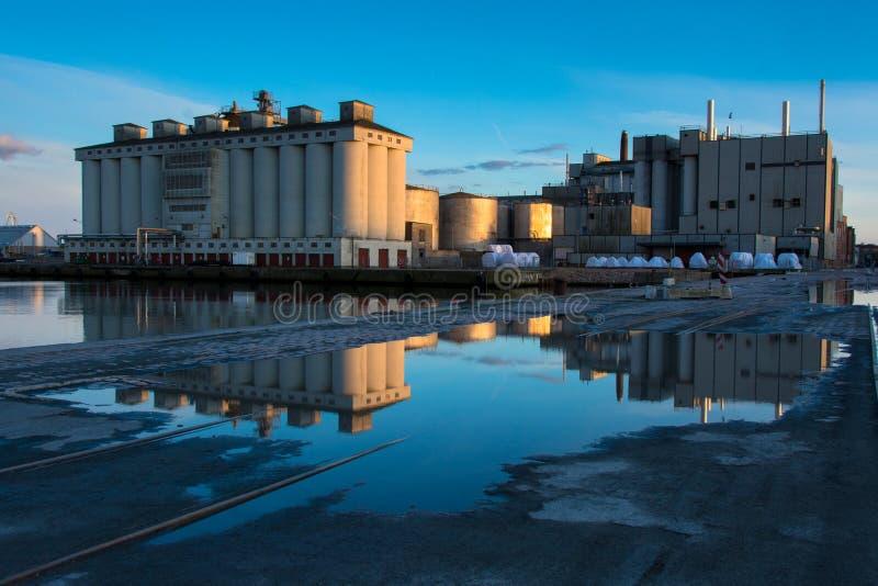 Evening - industrial harbor, Aarhus Denmark stock photo