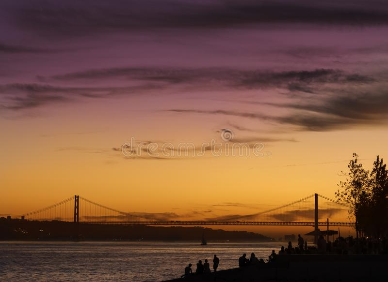 Evening kolory w Lisbon, Portugalia fotografia royalty free