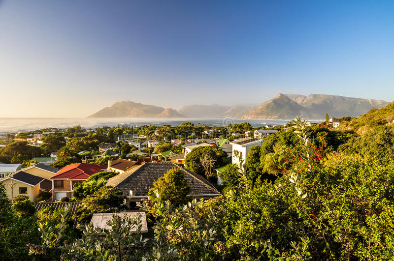 Evening at Kommetjie - Cape Town, South Africa. Beautiful evening view of the residential area of Kommetjie, a small town near Cape Town in the Western Cape stock photography