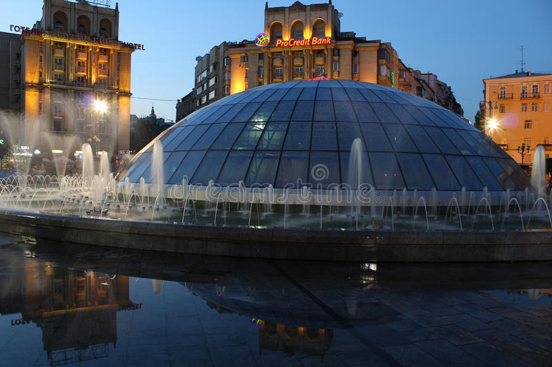 Evening in Kyiv City. Ukraine. Fountains and buildings on Khreshatyk street. August 12, 2017. Editorial royalty free stock photos