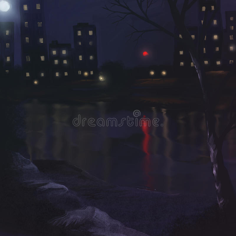 Download Evening Lake  - Digital Painting Stock Illustration - Image: 22223331