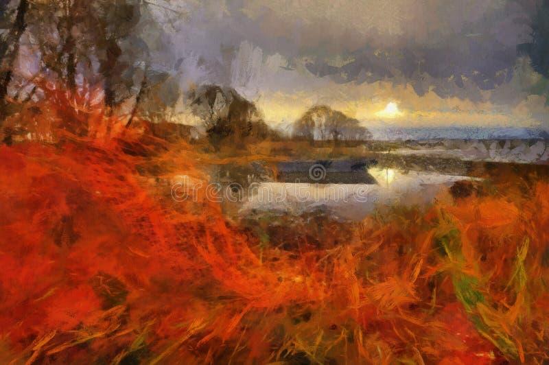 Evening on Lake Pleshcheyevo. Evening landscape with Lake Pleshcheyevo and old boat. Oil painting stock illustration