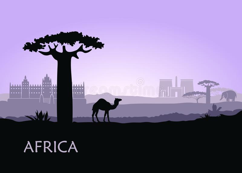 Evening landscape with camels, baobabs and architecture of Africa vector illustration