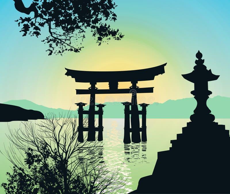 Evening Landscape in Japan with Tori-gate stock illustration