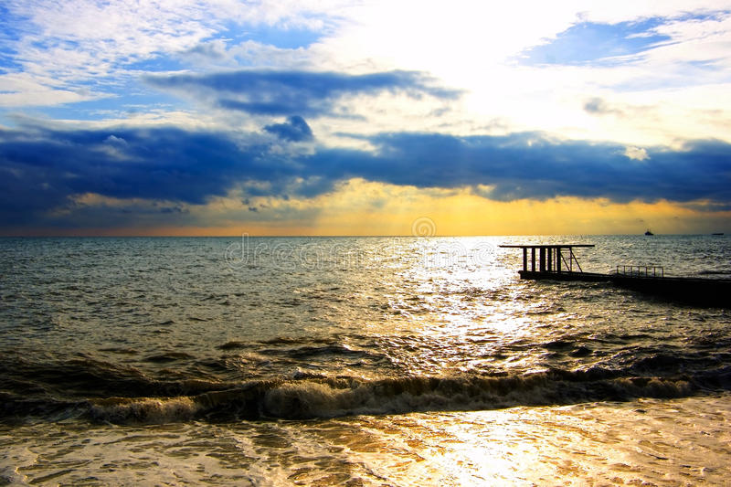 Download Evening Landscape Of The Sea Pier And Ship Stock Photos - Image: 19060643