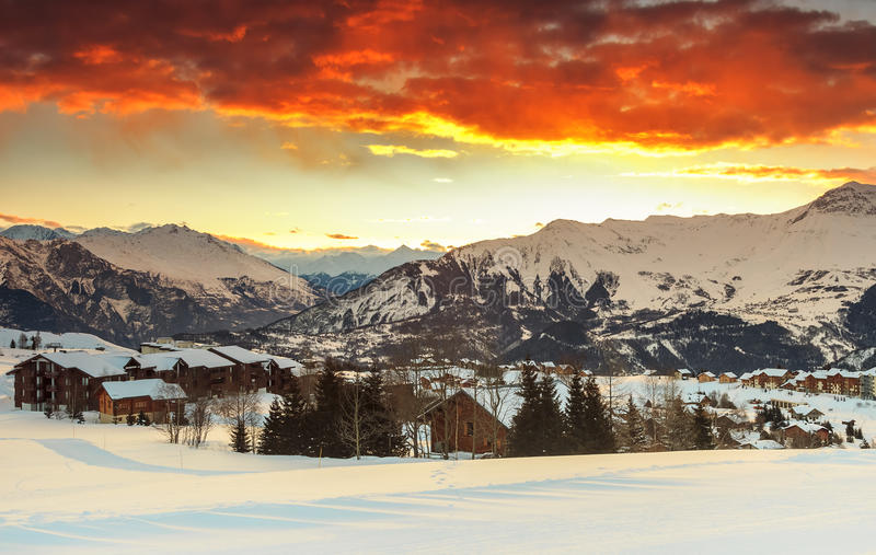 Evening landscape and ski resort in French Alps,La Toussuire,France royalty free stock photos