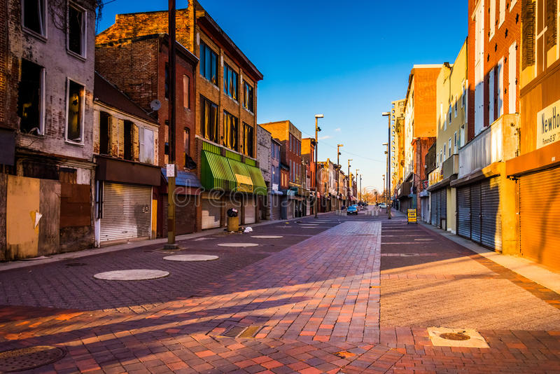 Evening light on abandoned shops at Old Town Mall, Baltimore, Ma. Ryland royalty free stock images