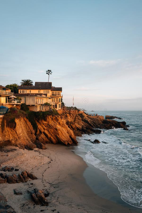 Evening light on cliffs at Wood`s Cove, in Laguna Beach, Orange County, California.  royalty free stock photography