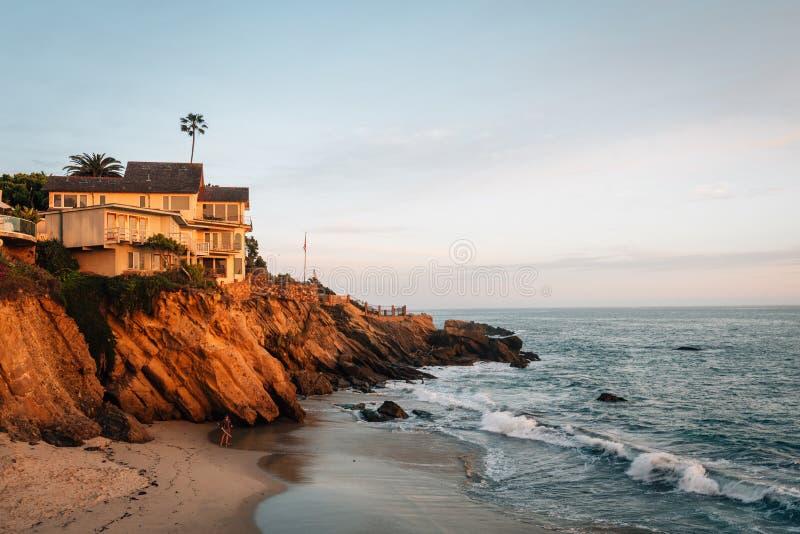 Evening light on cliffs at Wood`s Cove, in Laguna Beach, Orange County, California.  stock photo