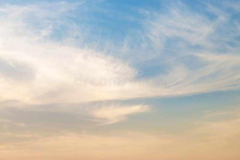 Evening light with clouds and blue sky.  royalty free stock image