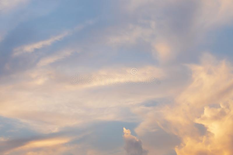 Evening light with clouds and blue sky.  stock photos