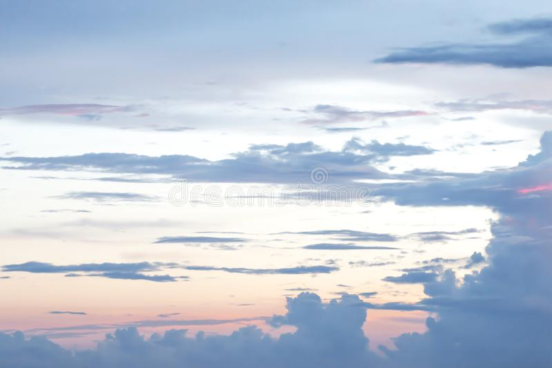 Evening light with clouds and blue sky.  stock images