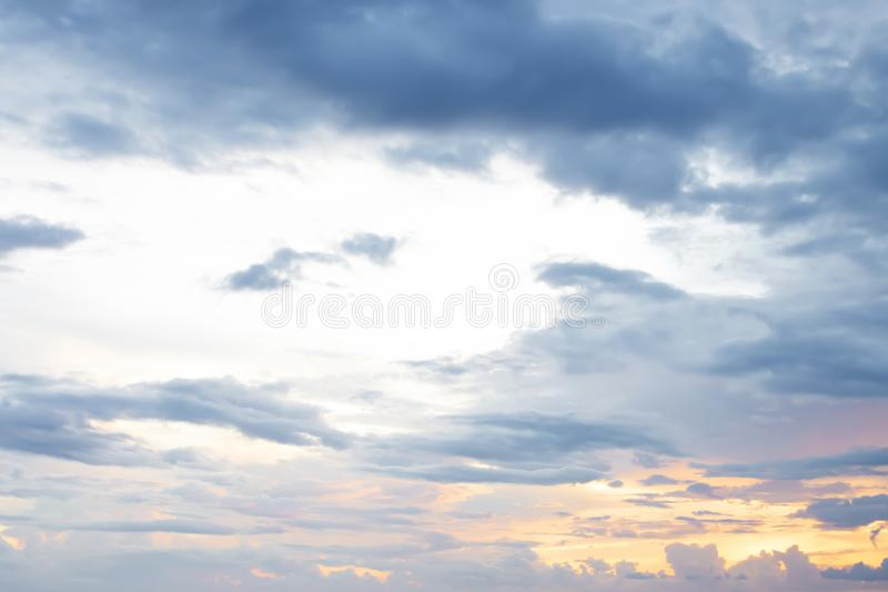 Evening light with clouds and blue sky.  royalty free stock images