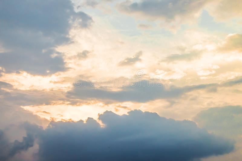 Evening light with clouds and blue sky.  royalty free stock photos