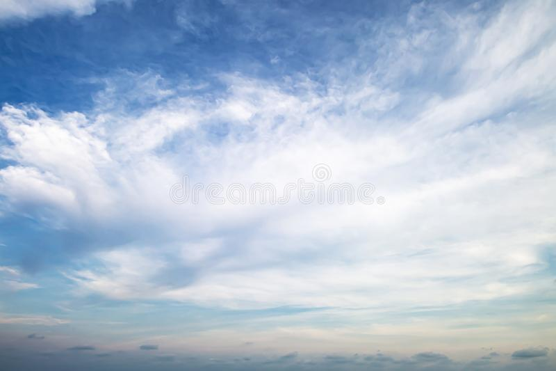 Evening light with clouds and blue sky.  stock image