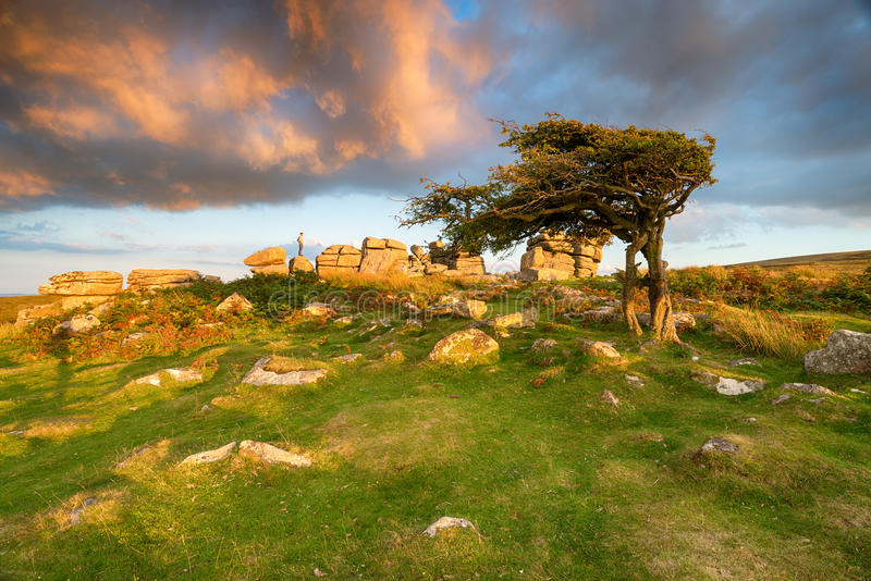 Evening Light at Combestone Tor. Beautiful evening light and a dramatic sky over Combestone Tor near Hexworthy on Dartmoor National Park in Devon stock images