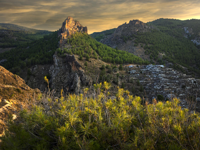 Evening light on Mountain. Late evening light on mountain at Seron in Spain royalty free stock photography