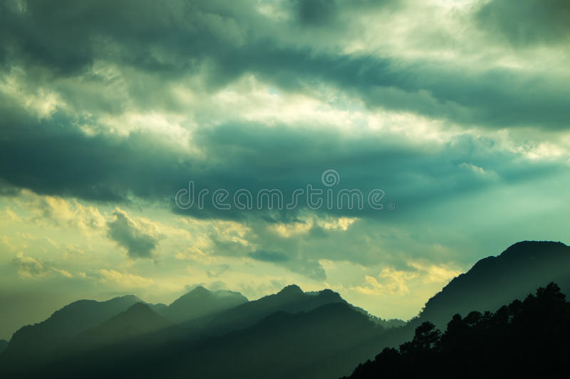 Evening light through the mountains. In Angkhang, Chiangmai (North of Thailand stock photo