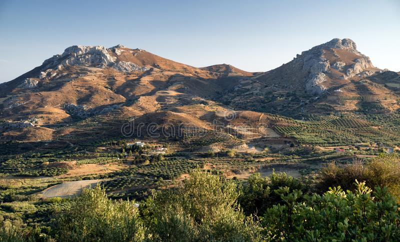 Evening light over Cretan country, Greece. Evening light over beautiful landscape. Crete island, Greece stock photography