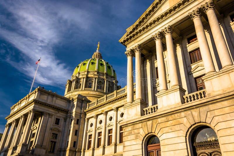 Evening light on the Pennsylvania State Capitol in Harrisburg, P. Ennsylvania stock photo
