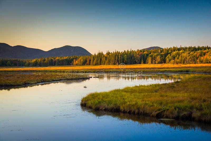 Evening light on a stream and mountains near Tremont, in Acadia. National Park, Maine royalty free stock photo