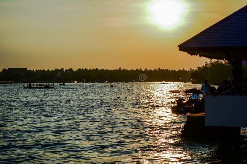 Evening light sunset of river. Amphawa Thailand stock image