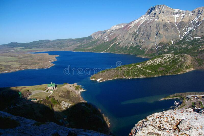 Evening Light on Upper and Middle Waterton Lake from Bear`s Hump, Waterton Lakes National Park, Alberta, Canada stock photo