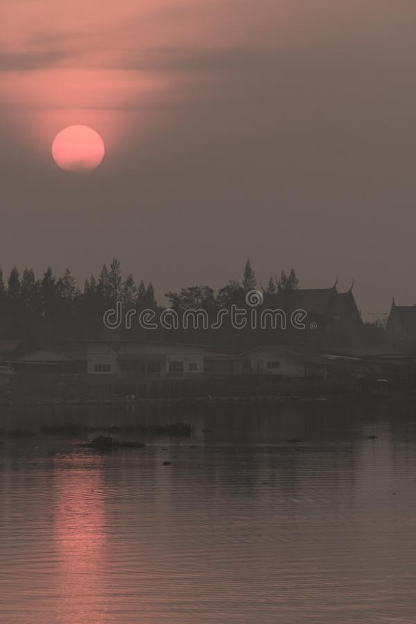 The evening light. The evening light in winter at the river royalty free stock photo