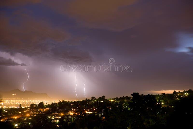 Evening Lightning Bolts stock photos