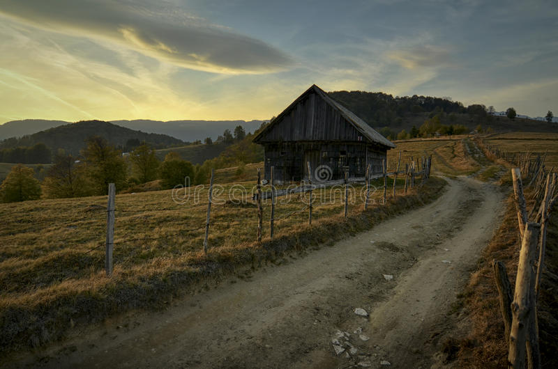 Evening lights. On a rural road royalty free stock image