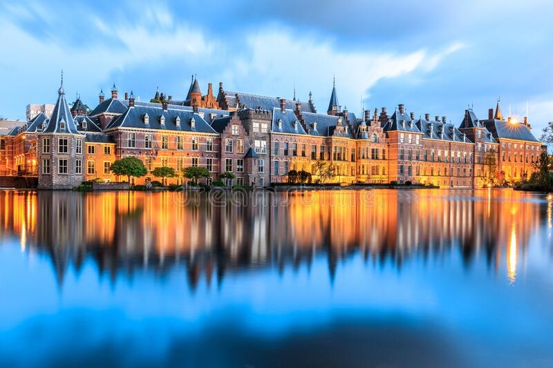 Evening lights at Binnenhof palace royalty free stock images