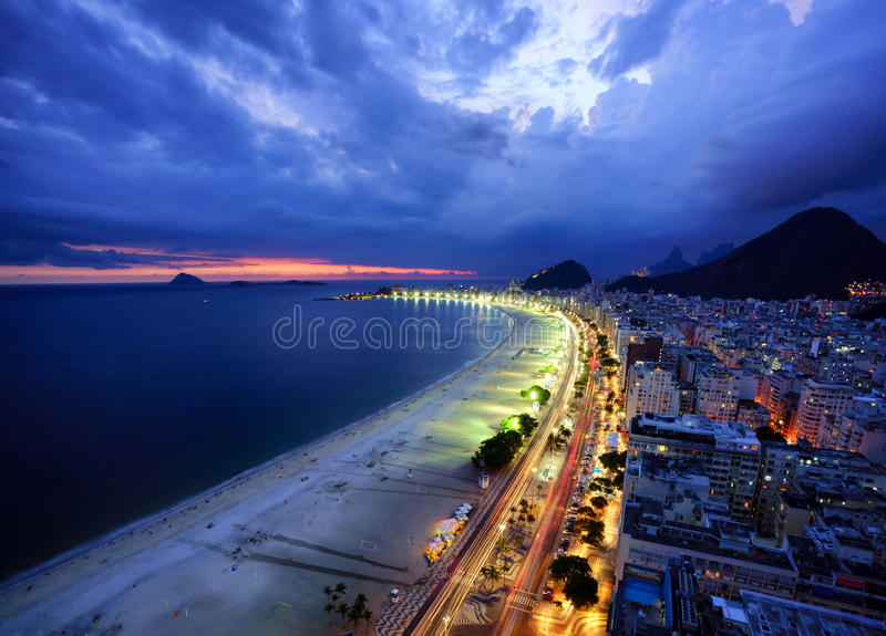Evening Lights of Copacabana Beach, Rio de Janeiro. Brazil stock photography
