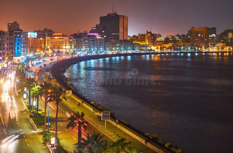 The evening lights of Corniche promenade, Alexandria, Egypt stock image