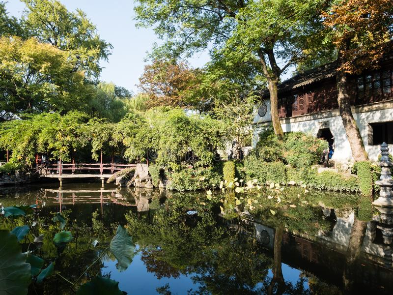Evening at Lingering Garden, one of the famous classical gardens of Suzhou stock photo