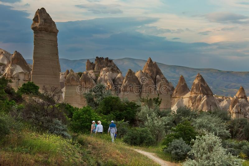 Evening in Love Valley, popular tourist destination in Cappadocia. With unusual rock formations stock image