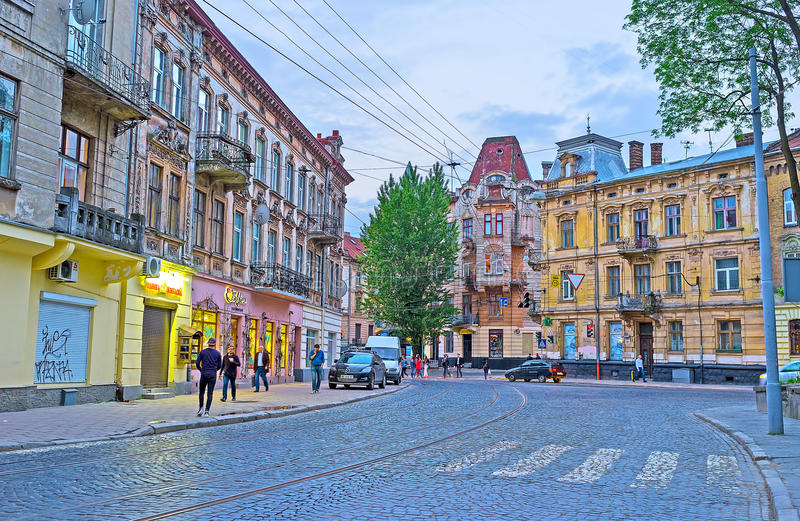Evening in Lvov stock images