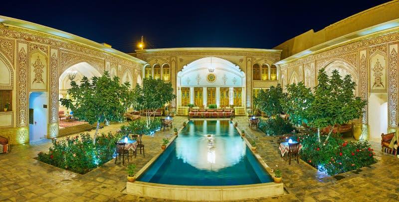 Evening Mahinestan Raheb Historical House, Kashan, Iran royalty free stock photography